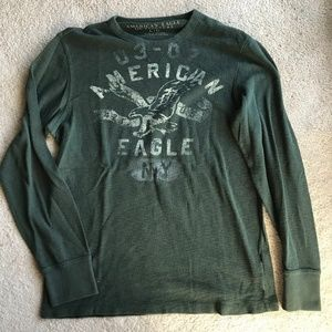 Mens AEO Hunter Green Long Sleeve Thermal L